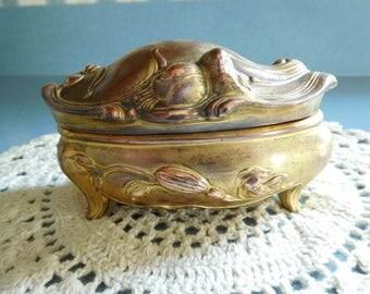 Antique Art Nouveau Gold Color Metal Casket Jewelry/Trinket Box by W.B. Mfg.
