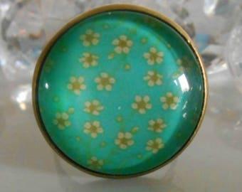 "Ring bronze ""Light flowers"" glass cabochon"