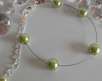 Simplicity wedding bracelet beads lime green
