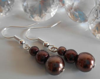 Trio of Brown Pearl wedding earrings