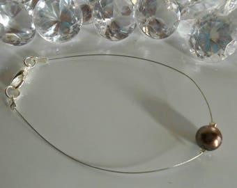 Brown solitaire Pearl wedding bracelet