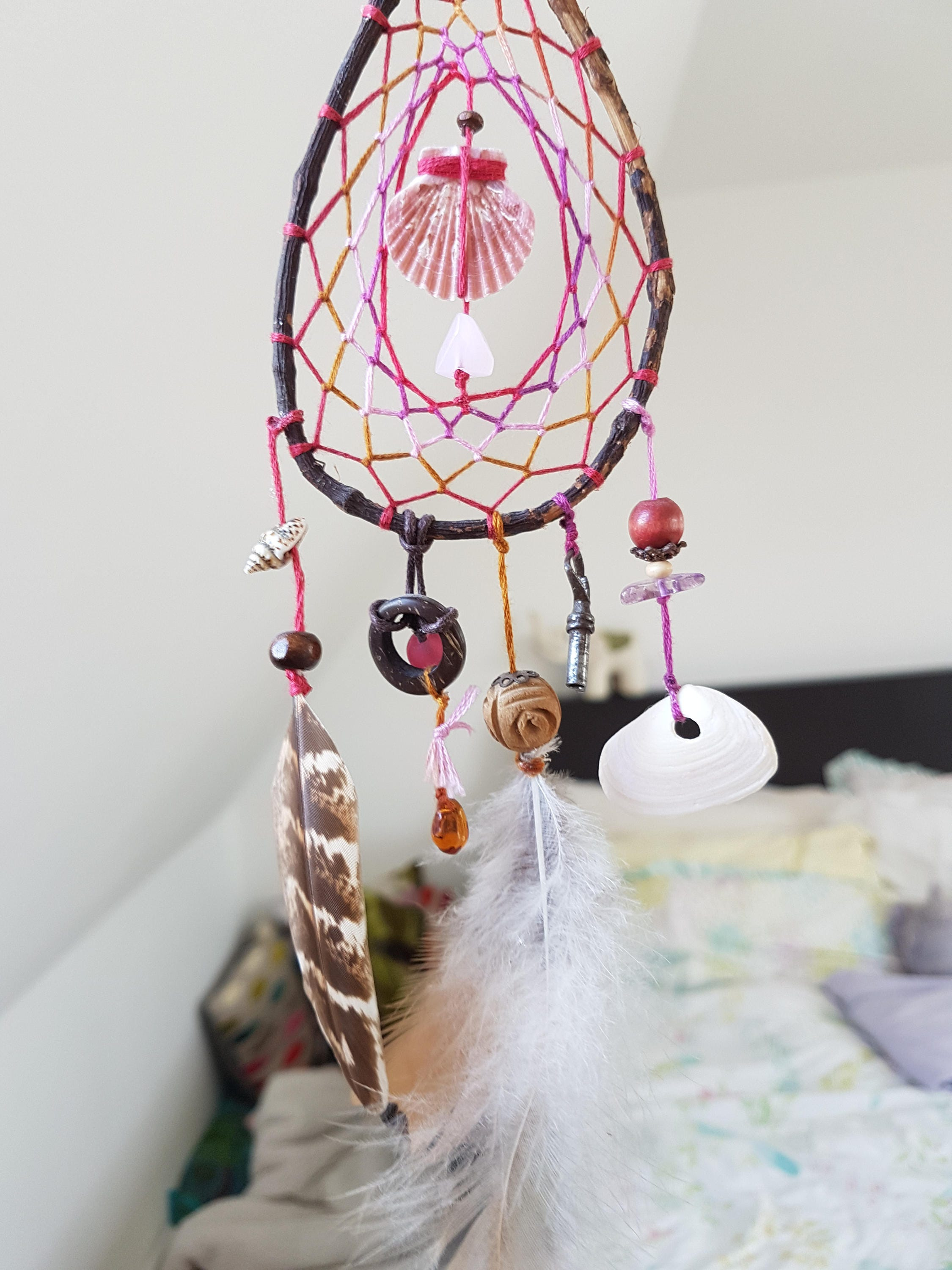 Pink & Brown, Native American Dream Catcher, Wall Hanging, Bohemian ...