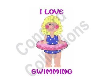 I Love Swimming - Machine Embroidery Design, Swimming