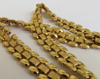 Vintage Classic Monet Signed GoldTone Linked Necklace - 1980s