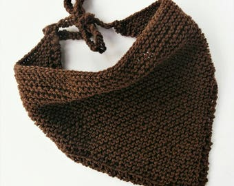 Brown knit bandana, knitted vegan scarf, festival scarves, vegan bandanas, summer headscarf, hand knit bandana, dreadlock headscarf, wool