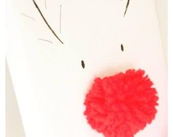 Christmas  reingdeer pompom canvas