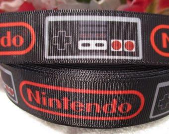 """3 Yards of 7/8"""" Nintendo Grosgrain Printed Ribbon"""