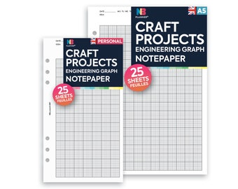PRINTED Craft projects Engineering graph notepaper organiser planner A5 / Personal Filofax A5 Kikki.K Large Compatible Refill Coloured