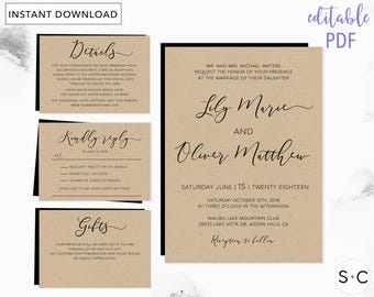 Rustic Wedding Invitation Template, Barn Wedding Invitations, Invitation Template, DIY wedding template, Printable Invitation,
