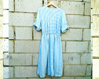 Vintage Dress - 80's - Summer Dress - Pin Stripe Dress - Blue - Summer Vintage