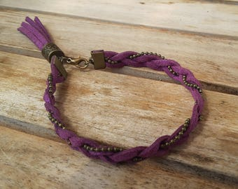 Purple suede and ball chain braided bracelet