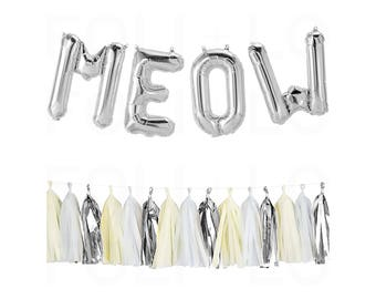 "MEOW Letter Balloons | 16"" Silver Letter Balloons 