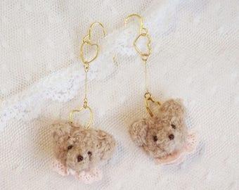 Teddy bear and tiny heart earrings