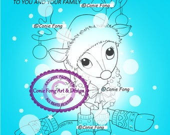 2 DOLLAR SALE-Digital Stamp, Digi Stamp, Digistamp, Reindeer Wreath and Sentiment by Conie Fong, Christmas, bauble, coloring page