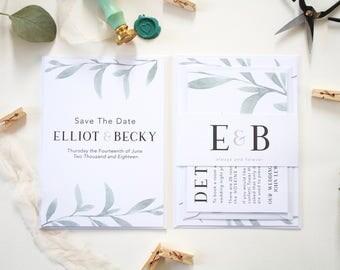 Elliot + Becky Sample Invite Suite   Botanical Wedding Invitation Set   Greenery Wedding Suite   Watercolour Wedding Stationery