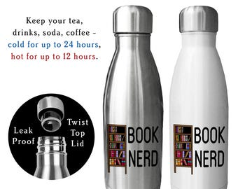 Reusable Water Bottle, Book Nerd, White, Silver, Custom Water Bottle, Stainless 17oz, Gift For Book Worm, Book club gift, Librarian