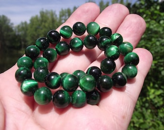 4 beads 8 MM round multicolor Green Tiger Œil.
