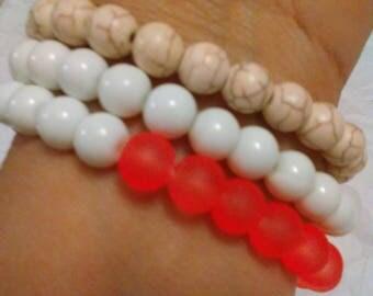 Howlite baked beads opaque bracelets