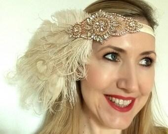Rhinestone gatsby feather headband, rose gold, flapper,vintage,bridal headpiece,peacock, ostrich,wedding, ivory, champagne,crystal,art deco
