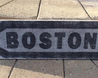 Rustic Boston Massachusetts Arrow Wood Sign
