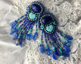 lapis lazuli Embroidered handmade earrings