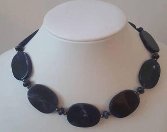 ON SALE Vintage Stone Necklace with Silver Clasp