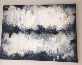 """ORIGINAL Abstract Painting on Canvas, Modern Art, Abstract Art, Blue, White, Gray, """"Darkness Fades"""""""