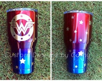 Wonder Woman powder coated Stainless Tumbler YETI RTIC OZARK