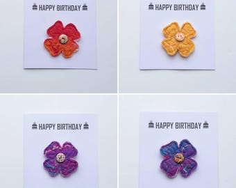 Birthday card, Felt flower brooch, Felt flower, Felt jewellery, Felted flower, Textile brooch, Textile flower brooch, Happy Birthday
