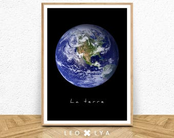 The Earth, Earth photo, planet Earth, vintage photo, wall art, space photo, blue planet, Earth in space, Earth wall art, color and black