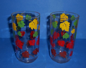 2 Vintage 1950's Glasses, Green, Yellow, Red and Brown Autumn Leaves, Juice Glass