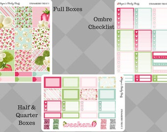 Strawberry Treat A La Carte Kit | shortcake, pink, green, blue, blossom, dessert | Weekly Planner Stickers sized for Erin Condren Vertical