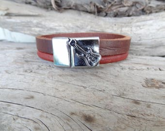EXPRESS SHIPPING,Men's Brown,Burgundy Leather Bracelet,Music Guitar Bracelet,Men's Jewelry,Chrome Magnetic Clasp Bracelet,Father's Day Gift