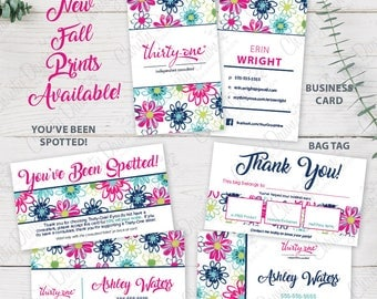 Thirty One Combo Pack - Business Card, Bag Tag, & You've Been Spotted Card (templates)