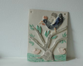 Hans my Hedgehog Wall Hanging Tile Grimms Fairy Tale Ceramic