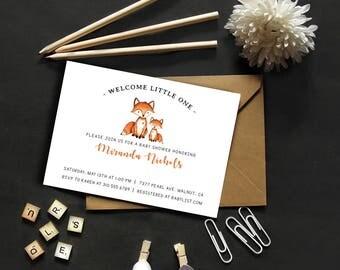 Little Fox // Woodland Creatures // Baby Shower Invitation // Forest Friends // Digital Invitation