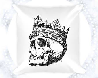 Skull King Throw Pillow | Cushion Cover | Black and White Accent Pillow | 18x18 Decorative Pillow | Goth | Skeleton | Crown | Vintage Art