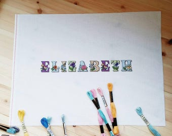 Personalized gift. Cross-stitch hanging with name. Baby nursery picture. Completed Cross Stitch. Baby shower gift. Nursery room Decor
