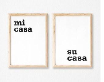 Printable Wall Art Prints, Printable Quotes, Digital Print, Digital Download, Spanish Quote, Modern Decor, Home Decor, Mi Casa Su Casa