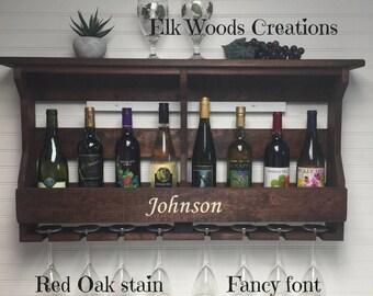 Personalized Wine Rack | Engraved Wine Rack | Rustic Wine Rack | Personalized Gift | Unique Wine Rack | Wall Hanging | Wooden Wine Rack
