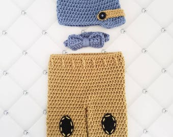 Baby boy hat and pants set, newborn baby hat and pants, baby boy picture outfit