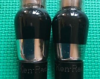Pair Ken-Rad 6C6 Black & Silver Tubes NOS-Testing Beautiful
