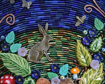 Mixed Media Mosaic ~ Beaded Mosaic Wall Art ~ Rabbit in the Garden ~ Floral Mosaic ~