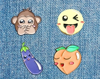 EMOJI CHEEKY PINS - Love Enamel Cute Boyfriend Girlfriend Anniversary Couple Peach Eggplant Aubergine Lesbian Gay Sexy Naughty Funny