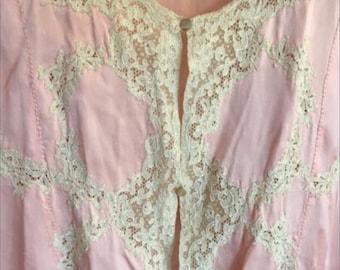 """Old silk """" liseuse """" - bedjacket- 1920 , France, Paris. Old pink colour"""