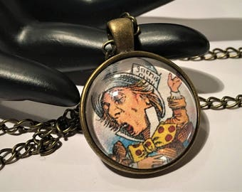 MAD HATTER Necklace Alice in Wonderland Tea Party Pendant Fairytale Jewelry