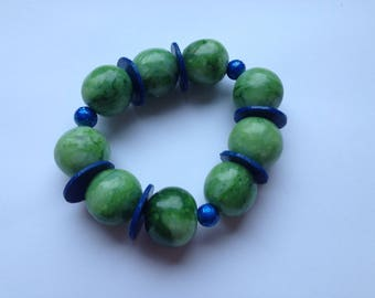 Green and blue polymer clay bracelet