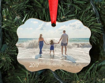 Custom Wood Photo Christmas Ornament, Benelux Design, Fancy Ornament, Add your own photo, One Sided