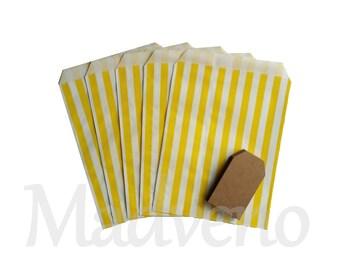 Set of 10 yellow vertical stripes kraft paper bags