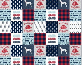 Little Firefighter Baby Blanket - quilt/fireman/future/boy/red and navy/dalmation/firetruck/little man